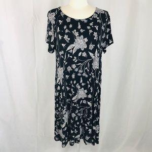 Old Navy Black White Floral Swing Dress